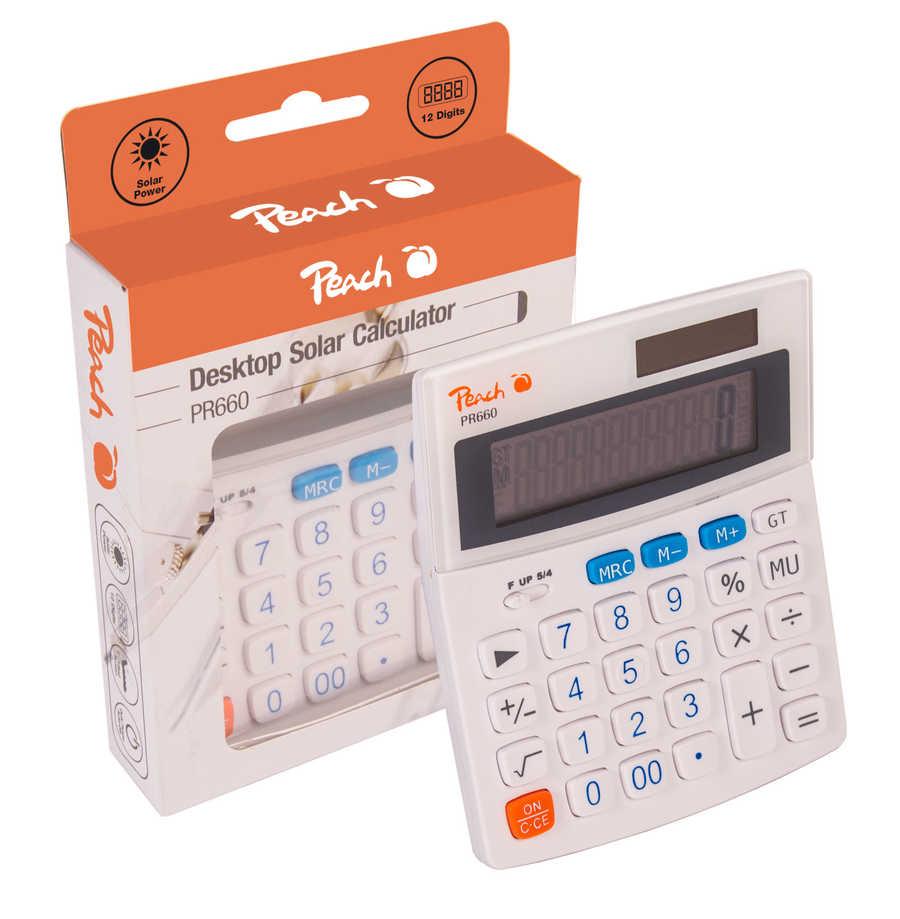 Kalkulačka Peach 10místná PR660, Dual Power (baterie, solární)