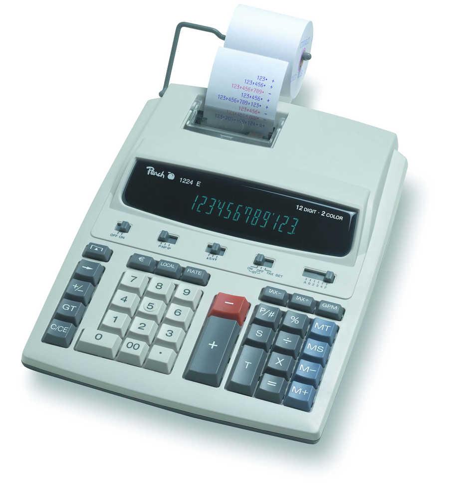 Kalkulačka Peach 12místná stolní PR671, postavená v AC adaptéru
