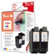 313021 - Peach Twin Pack Ink Cartridges colour, compatible with BCI-24 c Canon